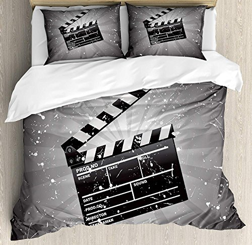 Movie Theater Quilt Bedding Sets, Clapper Board on Retro Backdrop with Grunge Effect Director Cut Scene, 3 Piece Duvet Cover Set for Childrens/Kids/Teens/Adults, Grey Black White,Full Size for $<!--$98.90-->