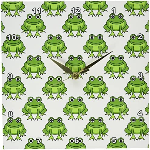 3dRose DPP_204729_1 Cute Green Frog Pattern Wall Clock, 10 by 10