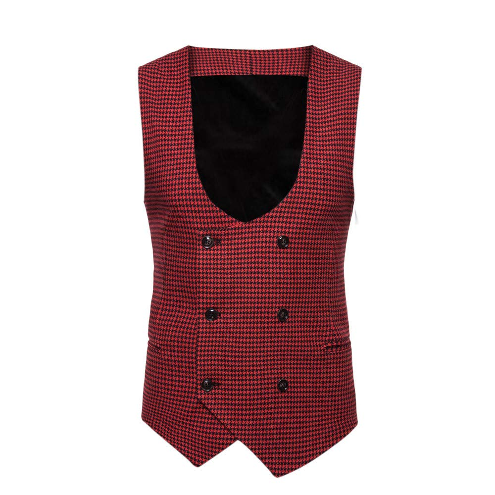 SMALLE ◕‿◕ Clearance,Men Plaid Button Casual Print Sleeveless Jacket Coat British Suit Vest Blouse