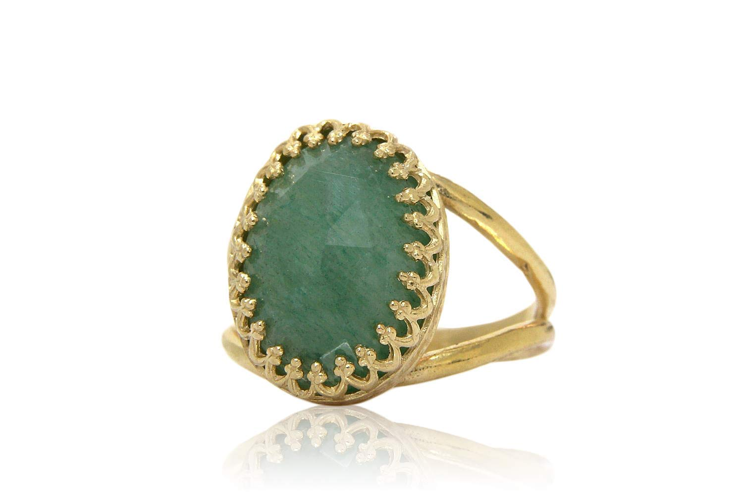 Handmade Lady Rings for Any Occasion Adorable Oval Rings for Women Free Gift Box Anemone Jewelry Exquisite Green Aventurine Ring in 14k Gold-filled Band