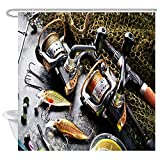 Fly Fishing Shower Curtain JAWO Fly Fishing Shower Curtain for Men, Sea Fishing Rod and Net Safari Outdoor Sports Boys Waterproof Bath Curtains Set, Polyester Fabric Upgrade Bathroom Decor 12 Hooks Included, 69X70 Inches