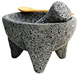 Genuine Mexican Volcanic Stone Molcajete / Tejolote 8 inch with Wooden Salsa Spoon & Handbook