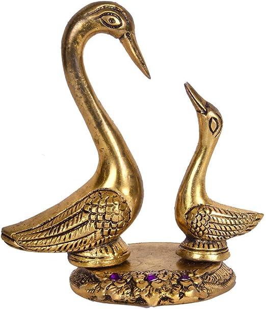 Swan Birds Love Couple Decorative Figurine Home Decor Lucky Metal Art Sculpture