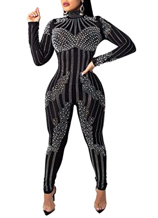 ff68304381c Chemenwin Women s Sexy Mesh See Through Sequin Zipper Rhinestone Bodycon  Clubwear Jumpsuit Rompers One Piece Overall