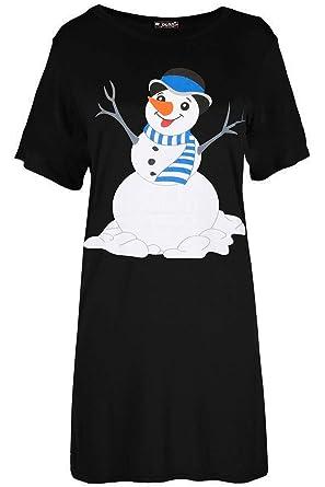 90dc3195116 Fashion Star Womens Xmas Snowman Carrot Nose T Shirt Dress  Amazon.co.uk   Clothing