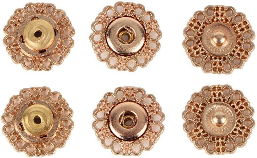 Sheens 10 Juegos de broches de presión de Metal Botones de presión Botones de presión Tornillos de presión 3 Broches de Cuero de Color para Ropa Chaquetas Jeans USA Pulseras Bolsas 18MM(Gold)
