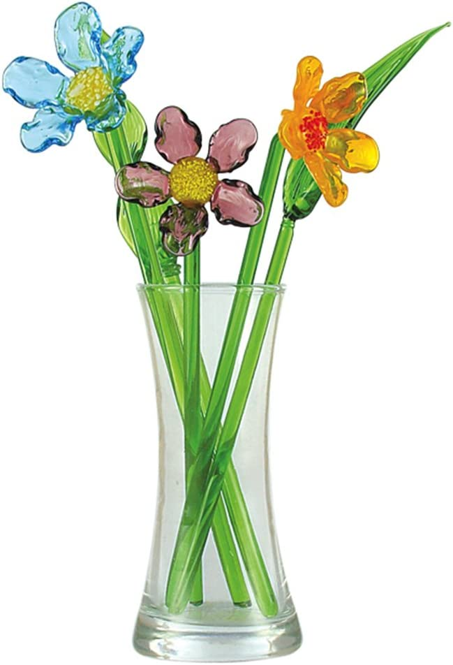 Red Co. Crystal Glass Spring Flower Bouquet with Vase, Gift Boxed - Cosmos Blossom