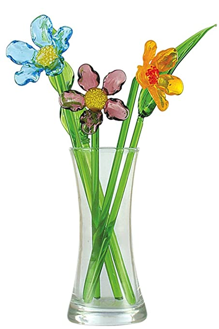 Amazon.com: Crystal Glass Spring Flower Bouquet with Vase, Gift ...