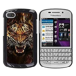 Stuss Case / Funda Carcasa protectora - Fierce Agresivo Ataque Tigre - BlackBerry Q10