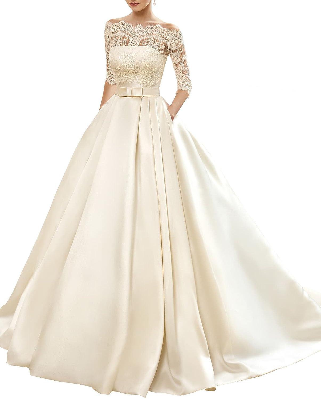 Changjie Damen Bateau 3/4-Arm Brautkleider Hochzeitskleider ...