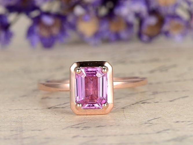 098743d40 Amazon.com: Pink Sapphire Engagement Ring 5x7mm Emerald Cut Stone Ring 14K  Rose Gold Wedding Band,Bezel Setting,Reco Design,Bridal Promise Ring:  Handmade