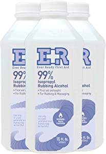 Ever Ready First Aid Isoprophyl Rubbing Alcohol, 99% 16 oz - 3 Count