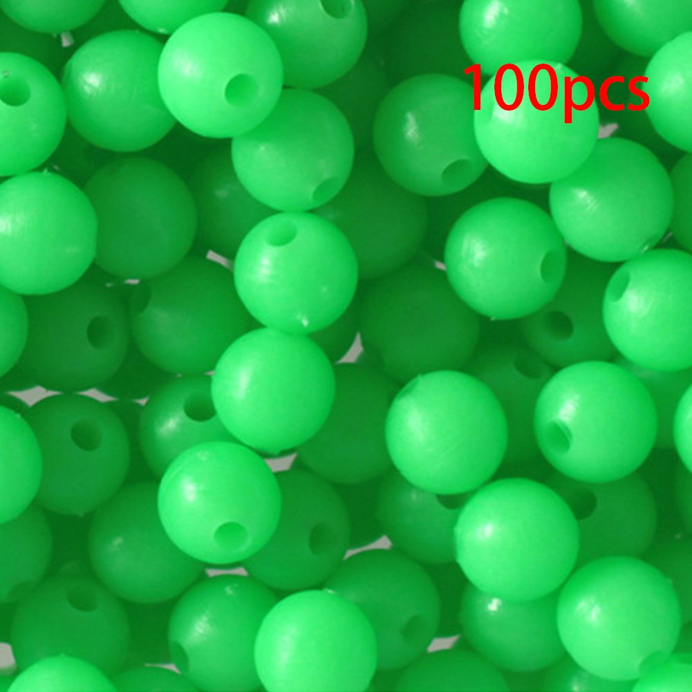 Oval Luminous Fishing Beads Sea Fishing Lures Hard Floating Float Tackles 100Pcs