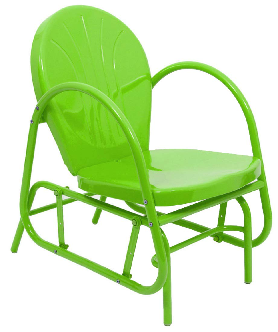 LB International 34'' Outdoor Retro Metal Tulip Single Glider, Lime Green by LB International