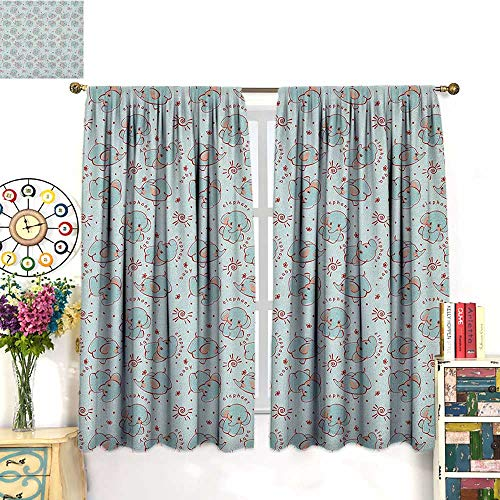 Red Coral Long Drill - Elephant NurserySolid Rod Pocket short Blackout DrapesYoung and Wild Animals Pattern for Children with Elephant CalvesBlackout Curtain Panels Window Draperies Rod Pocket Baby Blue Red Coral. W55