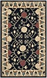 Safavieh HG740N-4 Heritage Collection Premium Wool Area Rug, 4′ x 6′, Navy/Ivory For Sale