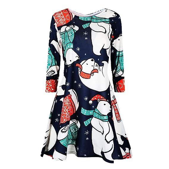 BBestseller-Vestidos Largo Floral Print Casual Verano para Noche Fiesta Playa Fiesta Vestir Sin Hombro Cuello Redondo Faldas Navidad: Amazon.es: Ropa y ...