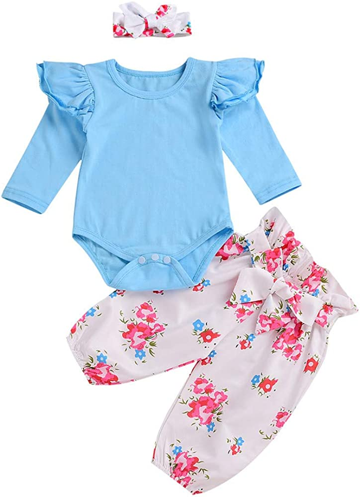 Baby Girl Outfits,Fineser Fashion Infant Baby Girls Solid Ruffle Romper Tops+Floral Pants+Headband Clothes 2Pcs Set 6-24M