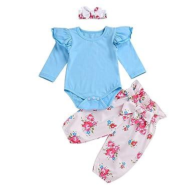 4b02f991f3a96 Sunenjoy 3 Pcs Enfant Infantile Bébé Filles Long Manchon Floral Vêtements  Ensemble Tops + Pantalon +