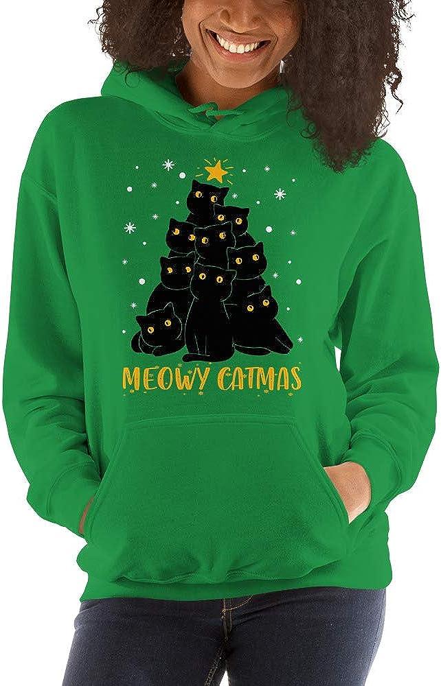 Meowy Catmas Cat Christmas Tree Cat Lovers Noel Gift Unisex Hoodie