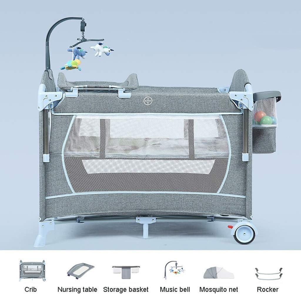 ポータブルベビーベッド、4-in-1スプライス可能なビッグベッド、多機能折りたたみ式ベビープレイコット(授乳テーブル、音楽ベル、ツールレスインストール),4lightblue