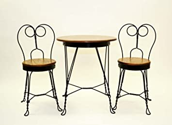 Elegant Antique Reproduction Ice Cream Parlor Furniture Set. Table And 2 Chairs.  Made The Old