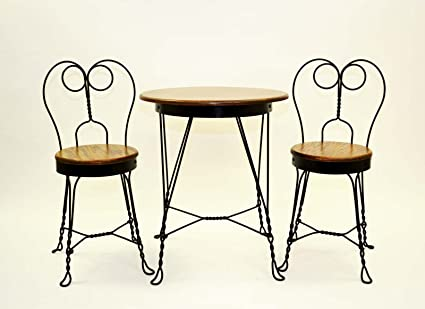 Antique Reproduction Ice Cream Parlor Furniture Set. Table And 2 Chairs.  Made The Old