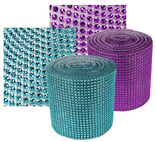 Purple & Teal Rhinestone Sparkle Wrap Diamond Mesh Ribbon Combo Pk - Add that Elegant Touch At Your Wedding or Special Event - 10 Ft
