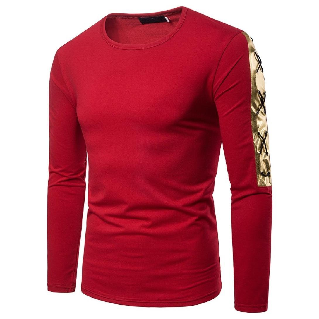 WUAI Men's Long Sleeve Crewneck Special Sleeve Basic Slim Fit Sport Pullover Casual Shirt WUAI-mens tops