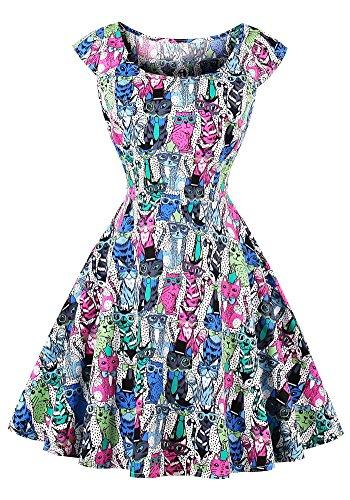 共和党余暇ゾーンMISSVIN ビンテージ1950年代の女性カクテルスイング半袖くり抜かれたフロントドレスドレス