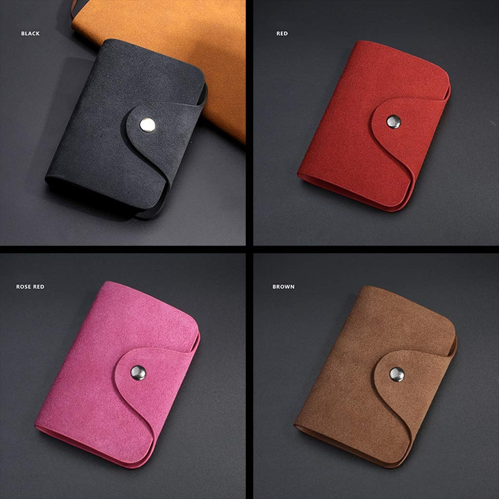 Color : Black, Size : 10.87.82cm Scrub Leather Ultra-Thin Compact Mens Simple Large Capacity Multi Business Credit Card Holders Cases ID Passport Card Wallet
