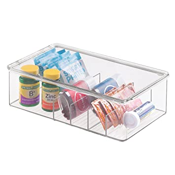mDesign - Caja para almacenamiento en el cuarto de baño; para medicamentos, vitaminas, kits de primeros auxilios, bálsamos y cremas, cosméticos - ...