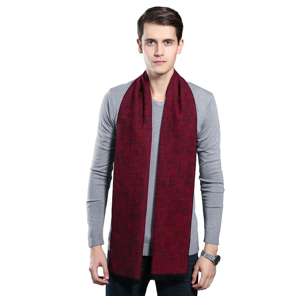 Mens Winter Cashmere Scarf - Ohayomi Fashion Formal Soft Scarves for Men(Red Plaid)