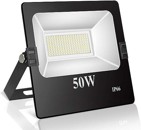 Roleadro Focos Led Exterior 50W IP66 Impermeable 144 SMD3030 LED Floodlight con Reflectores,Foco proyector LED Iluminación Exterior para Calzada Terraza Jardin 6500K Negro: Amazon.es: Hogar