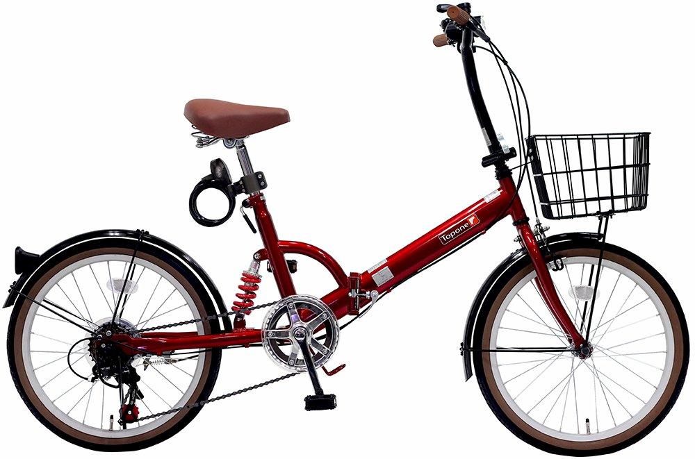 トップワン(TOP ONE) 20インチ折畳み自転車 シマノ外装6段ギア リアサスペンション カゴカギライト付 レッド FS206LL-37-RD ブラックモカオリーブパールホワイトレッドターコイズブルー B00F2EN51U