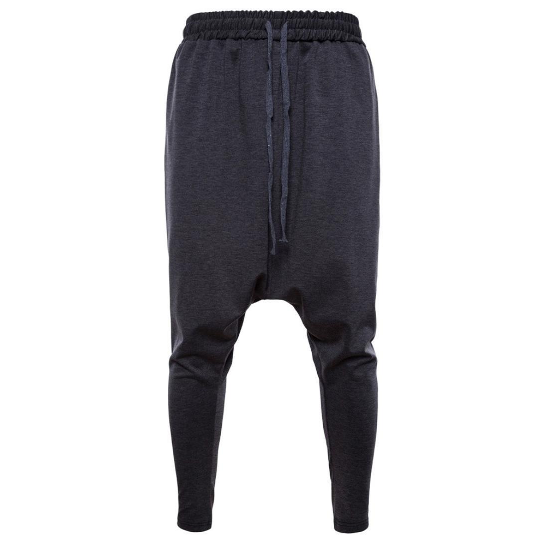 Spbamboo Men's New Pure Color Cotton Drawstring Elastic Waist Loose Sports Pants