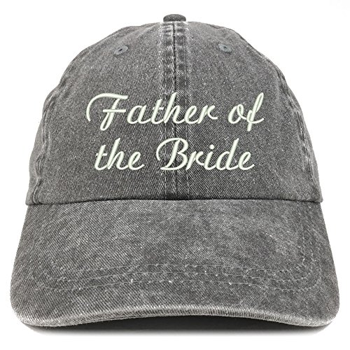 Trendy Apparel Shop Father of The Bride Embroidered Wedding Party Pigment Dyed Cotton Cap - Black ()