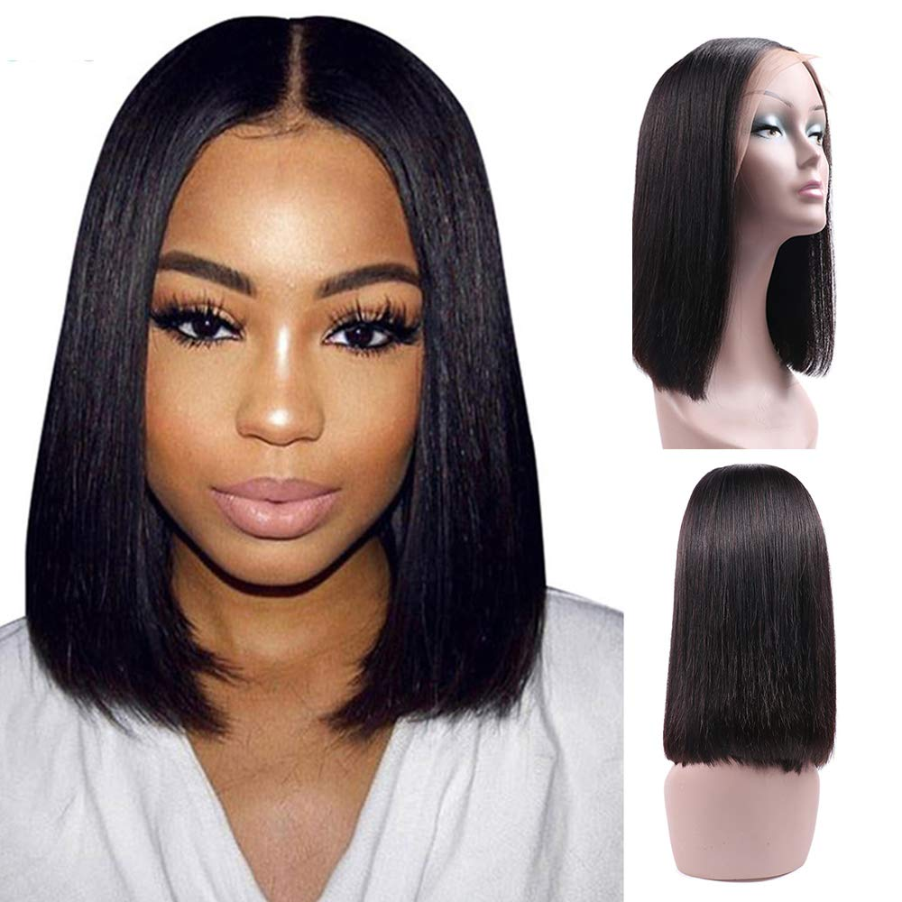 Ucrown Hair 13x4 Lace Front Short Bob Wigs Brazilian Straight Human Hair Wigs For Black Women 130% Density Pre Plucked with Baby Hair Natural Black (12inch) by Larhali