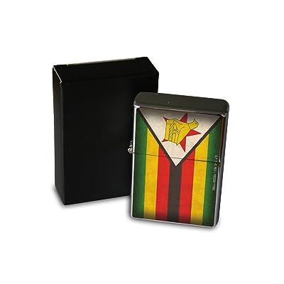 Briquet Chromé Essence Agence Voyage Drapeau du Zimbabwe Rarement Imprimé