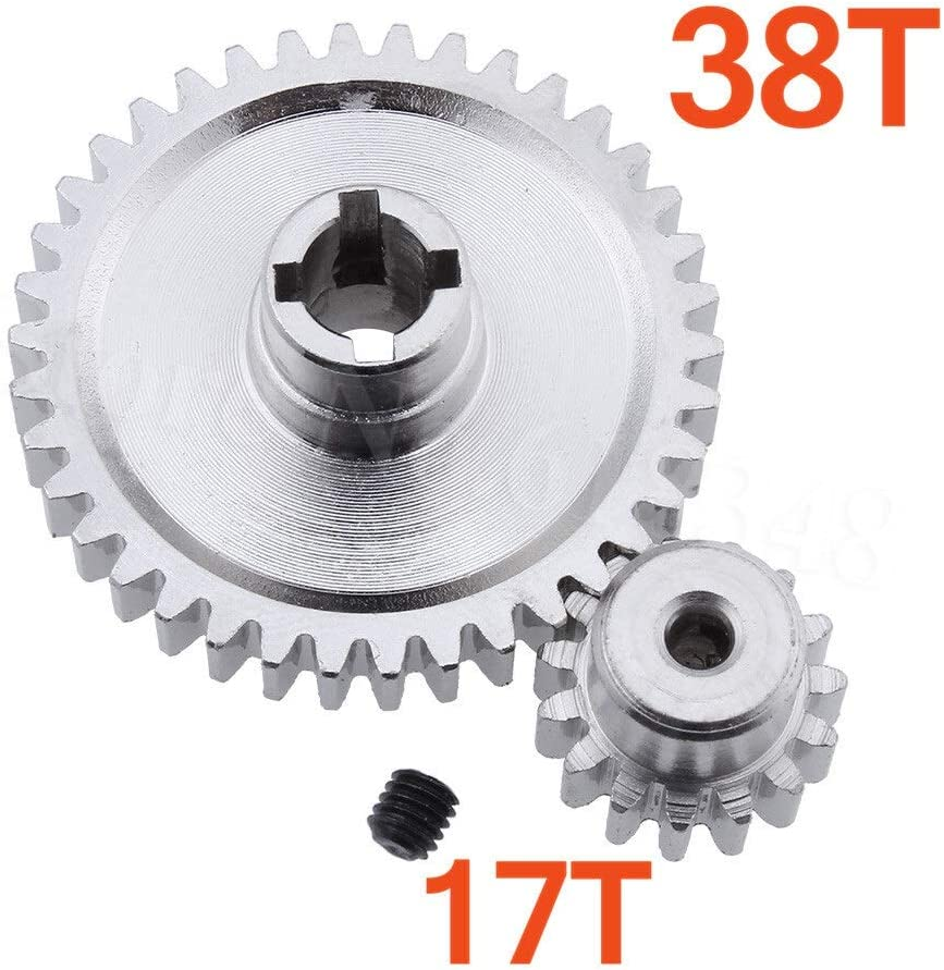 NO LOGO LMY-CL 2pcs m/étal en Acier Diff diff/érentiel Principal 38T /& Moteur pignon 17T for 1//18 Buggy /électrique Vortex Color : Sliver