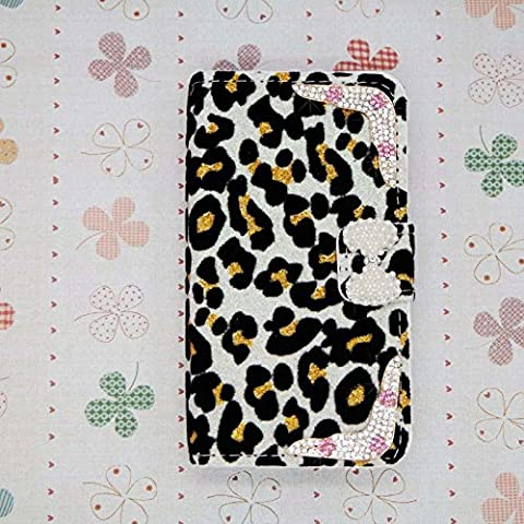 3D Pearl bow bowknot Luxury Bling Crystal Diamonds Wallet Crystal Leopard Leather Case Cover For smart Mobile Cell Phone (LG G G3 Vigor MINI (Lg G3 Vigor Leopard Phone Case)