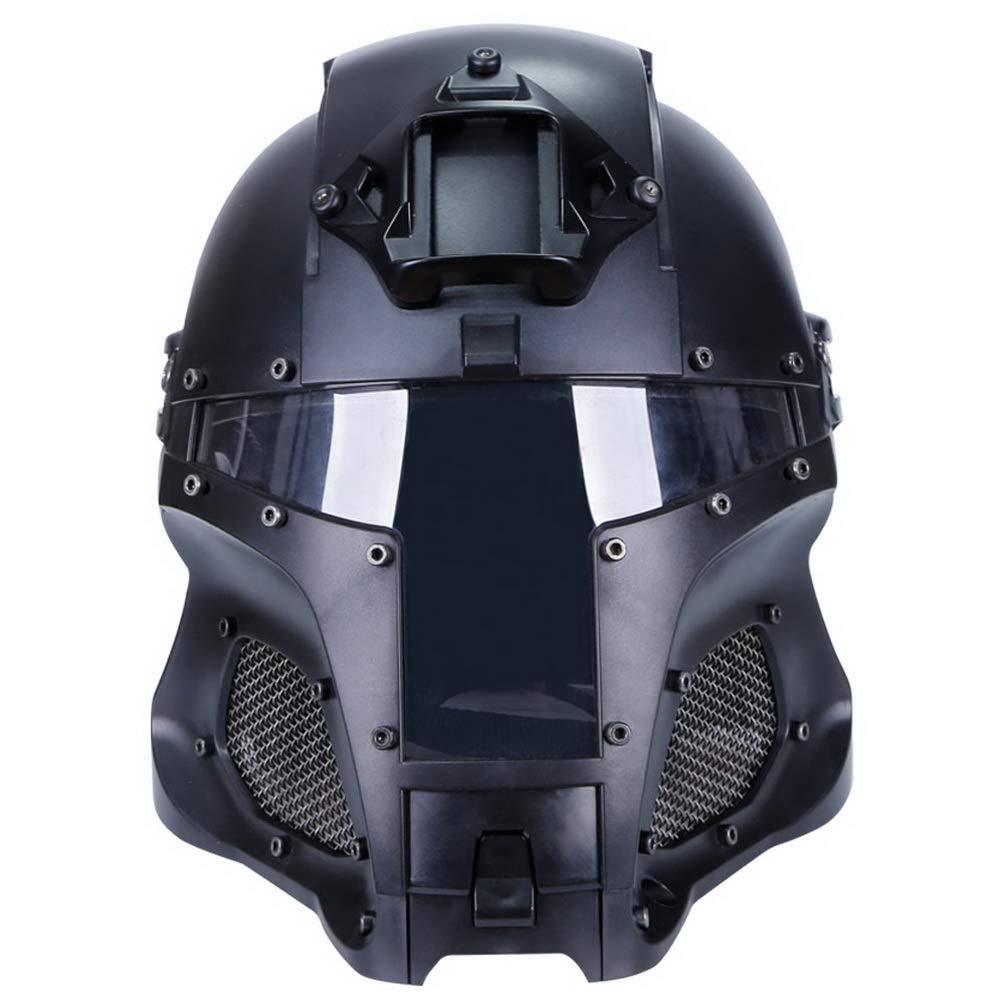 Simways Cosplay Airsoft Full Face Head Helmet Tactical Riding Sorta-Kinda Mandalorian/Boba Fett/Galac-Tac Style Helmet with Exchangable Lens(Black) by Simways