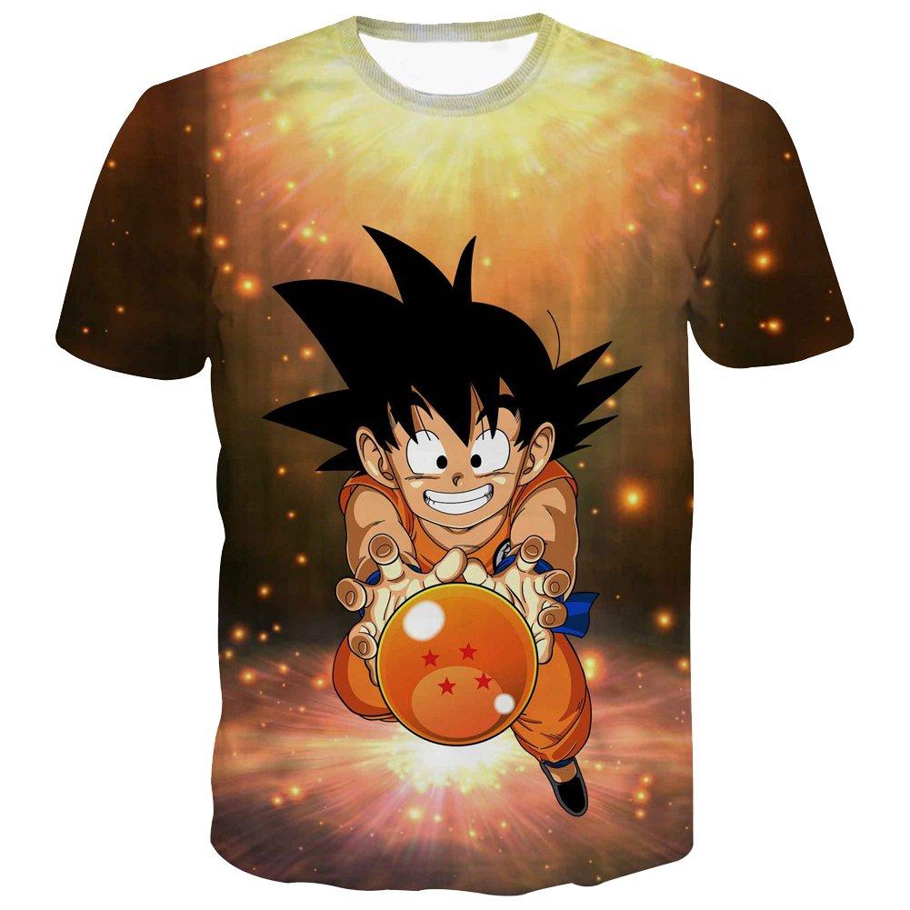 PIZZ ANNU Dragon Ball Series T-Shirt pour Hommes Print Creative Simple T-Shirt à Manches Courtes 85% Polyester 15% Spandex Été à Manches Courtes Vêtements Taille européenne S-2XL