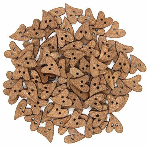 kanggest 100pcs 20mm forma di cuore la pittura decorativa da cucire Bottoni di legno per el album di scrapbooking di bricolage