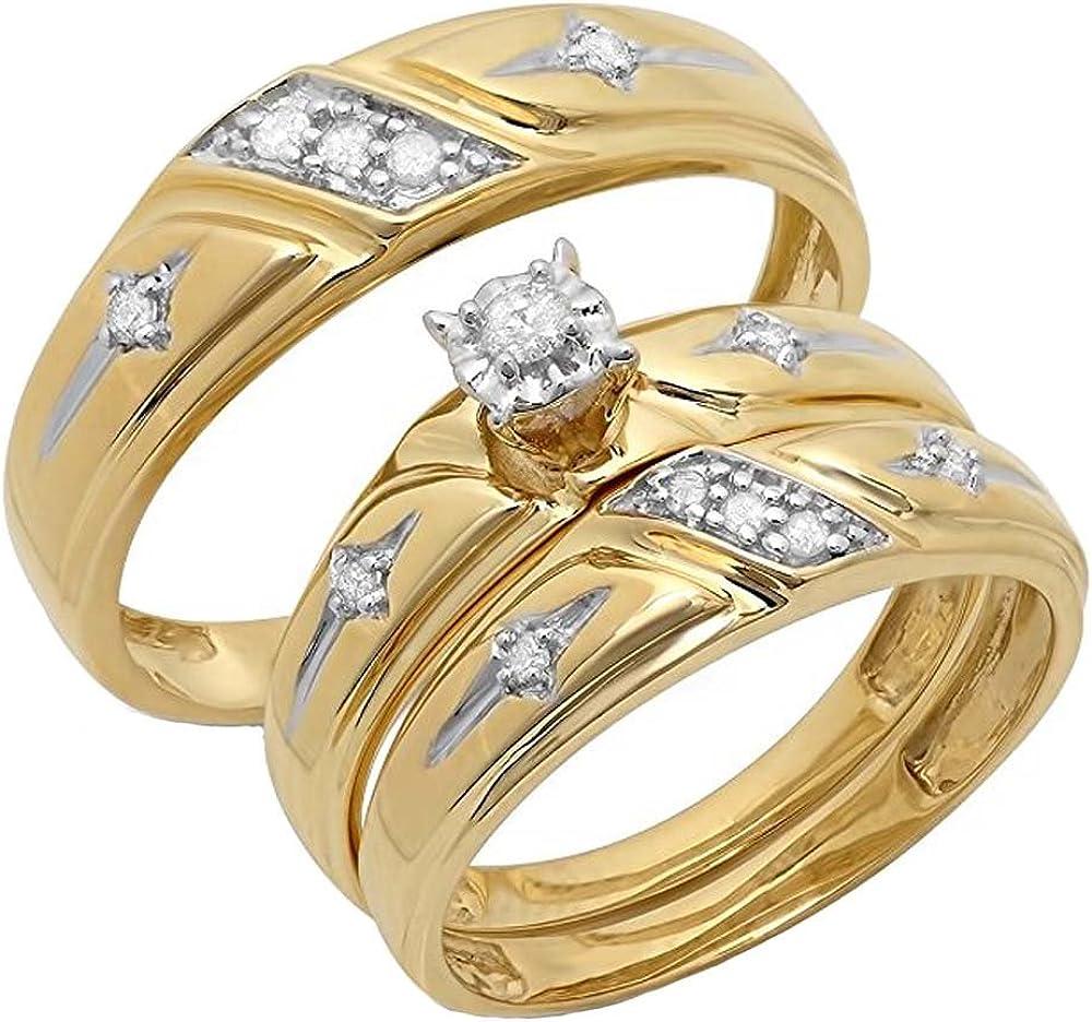 Dazzlingrock Collection - Juego de anillos de compromiso para hombre y mujer de diamante blanco de corte redondo de 10 quilates, 0,15 quilates (peso total), oro amarillo