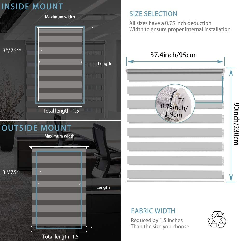 Stores Jour et Nuit avec installer Accessoires blanc 90CMx150CM Smonter Luckup Easy Fix Store enrouleur Zebra Rideaux