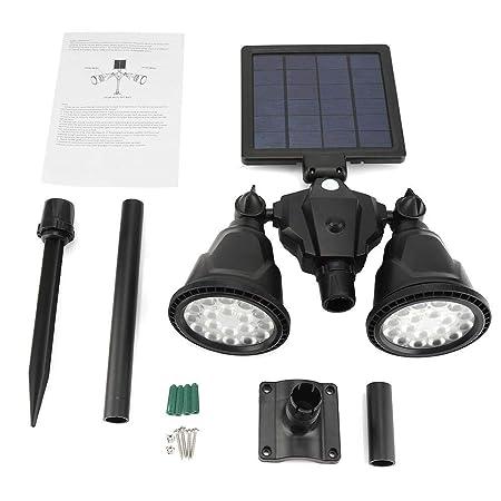 Proyector solar, modo 4 en 1 Sensor de movimiento Luces solares al aire libre 36 SMD LED Cabeza doble Luz giratoria de 360 grados para calzada, ...