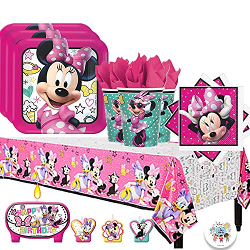 Another Dream Disney Minnie Mouse Happy Helpers Birthday Party Pack for 16 with Plates, Napkins, Cups, Tablecover, and Candles