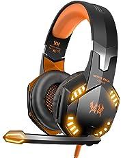 VersionTECH. Auriculares Gaming Cascos PS4 con Microfono, Diadema Ajustable, Bass OverEar 3,5mm Jack, Luz LED, Control de Volumen, Bajo Ruido para PS4/Xbox One/Nintendo Switch/PC/Móvil (Naranja)