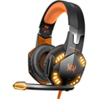 G2000 Stereo Gaming Headset for Xbox one PS4 PC, Surround Sound Over-Ear Headphones with Noise Cancelling Mic, LED Lights, Volume Control for Laptop Mac PS3 iPad Nintendo Switch - Orange